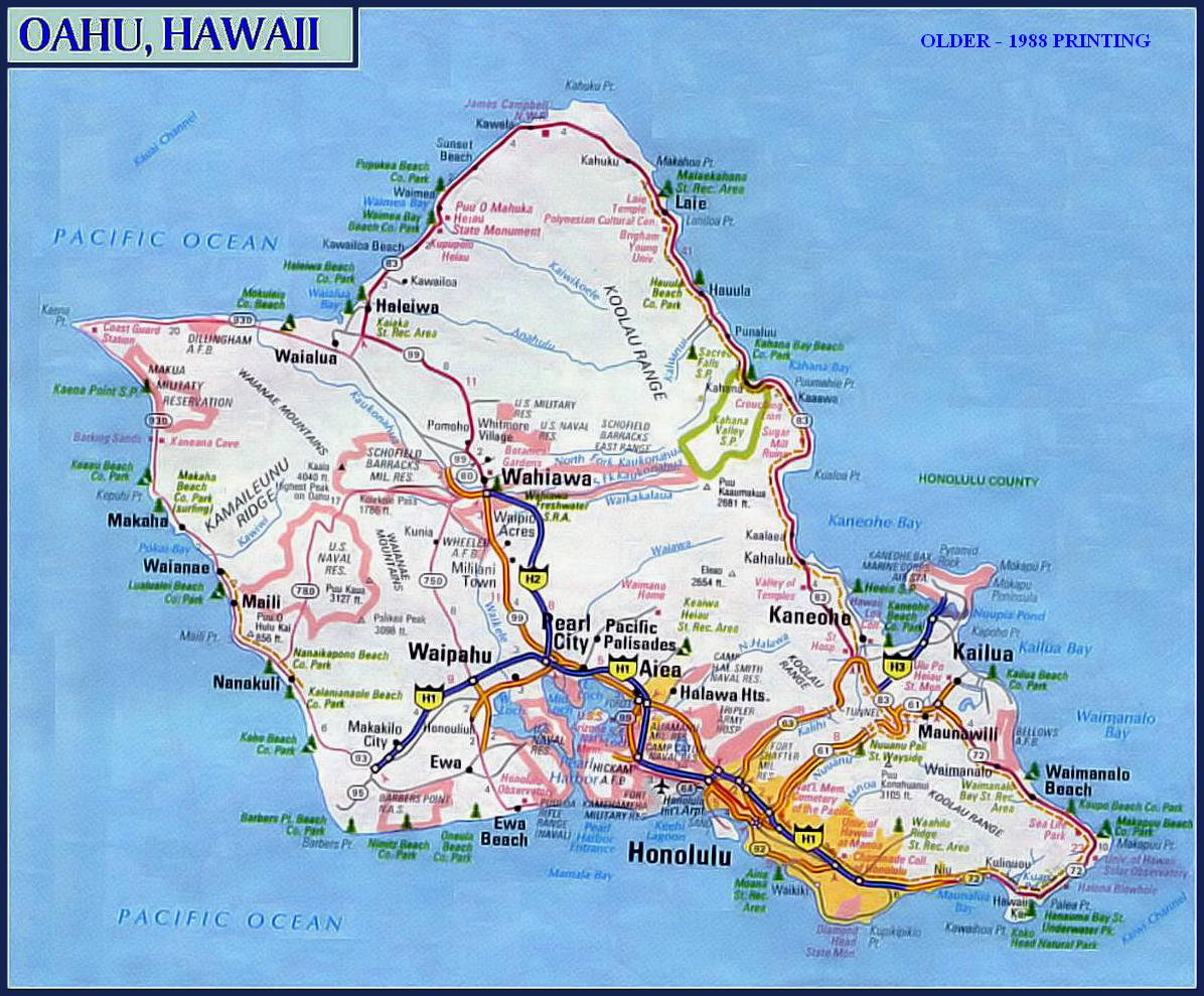 HAWAIIAN ISLANDS - Road map of hawaii